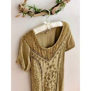 Vintage Olive Embroidered Back Tie Dress